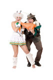 Funny couple dressed as rabbits Stock Photography