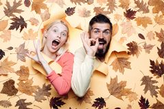 Funny couple are getting ready for autumn sale. Funny fac . Happy family in Autumn. Funny couple are getting ready for autumn sale. Funny fac . Happy family in royalty free stock image