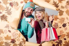 Funny couple are getting ready for autumn sale. Funny fac . Romantic couple in love. Clothing and color trends. Happy. People Having fun stock photos