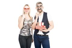 Funny couple on holiday royalty free stock photo