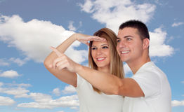 Funny couple looking something Stock Photos