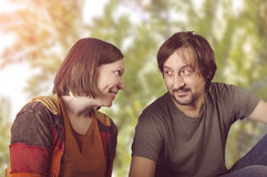 Funny couple in love. Royalty Free Stock Image