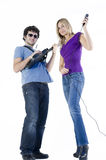 Funny couple playing music Royalty Free Stock Image