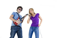 Funny couple playing music Royalty Free Stock Photo