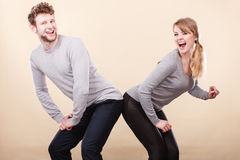 Funny couple playing together. Stock Images