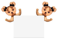 Funny couple of puppies holding empty banner. Isolated on white. Community and friendship concept. Realistic 3D illustration Stock Photography