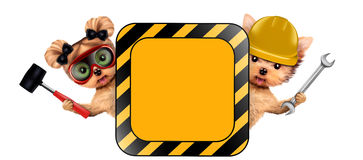 Funny couple of puppies holding empty banner. Isolated on white. Community and friendship concept. Realistic 3D illustration Royalty Free Stock Photography