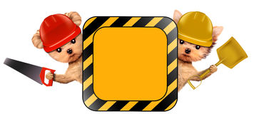 Funny couple of puppies holding empty banner. Isolated on white. Community and friendship concept. Realistic 3D illustration Royalty Free Stock Images