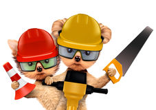 Funny couple of puppies with tools. Funny couple of puppies with hard hat, protective goggles, saw and cone holding jackhammer, isolated on white. Teamwork and Royalty Free Stock Images
