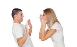 Funny couple simulating a discussion Stock Photos