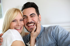 Funny couple sitting at home Royalty Free Stock Photography