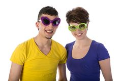 Funny couple with sunglasses Royalty Free Stock Image
