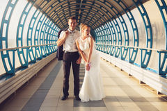 Funny couple in tunnel. Funny couple in long tunnel royalty free stock image