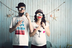 Funny couple waiting for children Royalty Free Stock Images