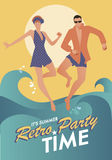 Funny couple wearing bath clothes dancing and jumping on the beach. Retro style Stock Photos
