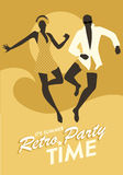 Funny couple wearing bath clothes dancing and jumping on the beach. Retro style Royalty Free Stock Images