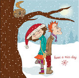Funny couple in the winter Stock Photo