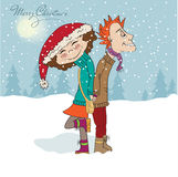 Funny couple in the winter Stock Images