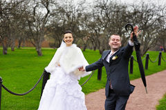 Funny couples in wedding walk Royalty Free Stock Photos