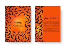 Funny cover with bats for Halloween. A terrible pattern of flyers with bats for festive decoration for Halloween on the orange backdrop. Vector illustration Stock Photography