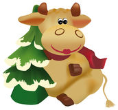 Funny cow. With christmas tree Royalty Free Stock Photo
