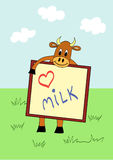 Funny cow. With Love Milk board, vector illustration Stock Photography