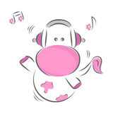 Funny Cow. Moxy Patty the Cow enjoying the music, vector Royalty Free Stock Photo