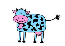 Funny cow. On the white background Stock Photos