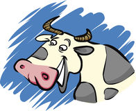 Funny cow. Cartoon humorous illustration of funny farm cow Stock Images