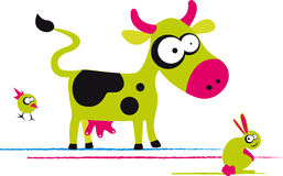Funny cow. With bird and rabbit, vector illustration Stock Photography