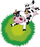 Funny cow. Jumping cow on the meadow. Funny cartoon Stock Photos