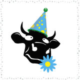Funny cow. 2009 - year of a cow. A vector illustration. A dreaming cow Royalty Free Stock Photos