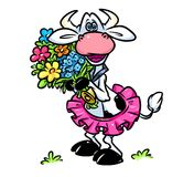 Funny cow bouquet  flowers cartoon illustration Stock Image