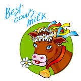 Funny cow carry wooden pail with milk. Lawn, flowers and sky. Vector illustration Stock Photo