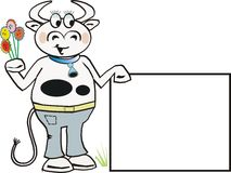 Funny cow cartoon. Cartoon cow holding flowers and sign Royalty Free Stock Photos