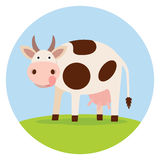 Funny cow on the field. Icon Stock Image
