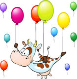 Funny cow flying with colorful balloon isolated Stock Photos