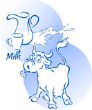 Funny cow with a jug of milk Stock Photography