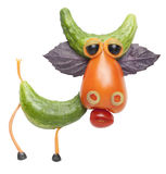 Funny Cow made of vegetables royalty free stock image