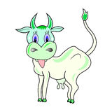 Cow character cartoon vector. Magic  funny colors cartoonish cow Stock Photo