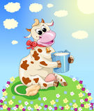 Funny cow on the meadow Royalty Free Stock Photos