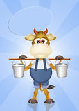 Funny cow with milk Royalty Free Stock Images