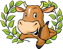 Funny cow peeks out from behind a white surface - vector cartoon illustration.Funny cow in laurel wreath show thumb up Royalty Free Stock Image