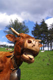 Funny cow. Rural scene. Funny cow sticking out tongue with pasture in background Stock Photo