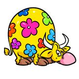 Funny cow yellow flower cartoon illustration Royalty Free Stock Image