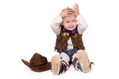 Funny cowboy. Little funny cowboy isolated on white background Royalty Free Stock Images
