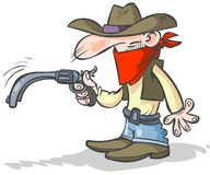 Funny cowboy with a drooping gun. stock illustration