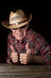 Funny cowboy making OK hand gesture Royalty Free Stock Photography
