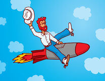 Funny cowboy riding missile as rodeo Stock Image