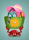 Funny crab with beach bag Stock Photo